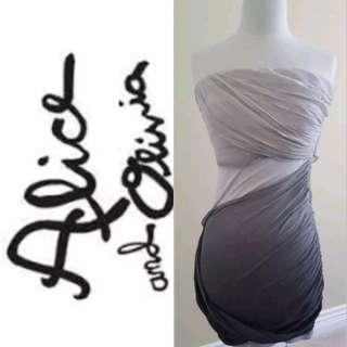 ALICE + OLIVIA Silk Draped Ombre Mini Goodess Strapless Dress, US 6