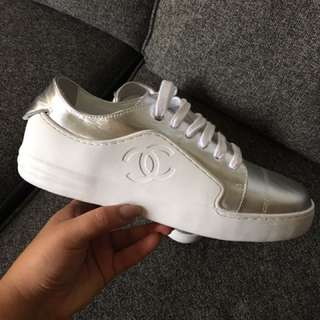 Chanel White and silver runners