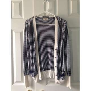 Mendicino Navy Striped Soft Wool Blend Sweater Cardigan