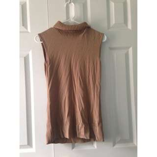 Hugo Boss Tan Sleeveless Long Sweater