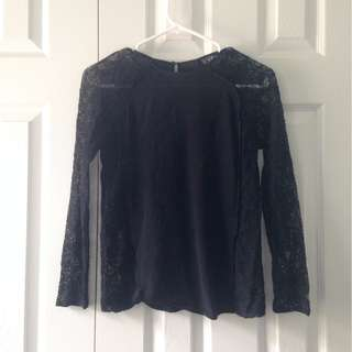 FCUK Black Half Lace Top