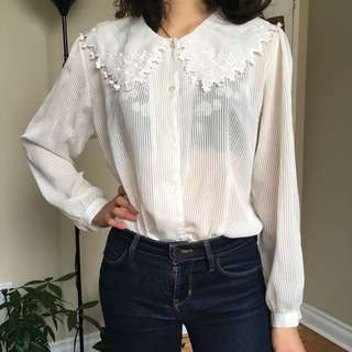 White floral collared shirt