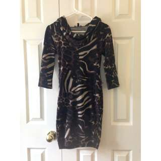 Le Chateau Animal Print Sweater Dress