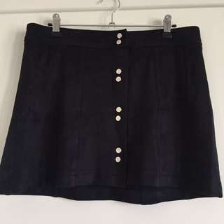 NEW Bardot Suede Button Up Skirt S14