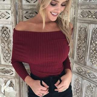 Wine Red Off Shoulder Sweater
