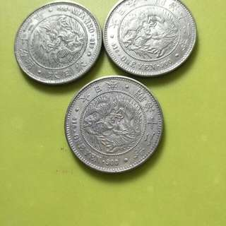 大日本明治12年,一圓龍銀,有3個,1個2400