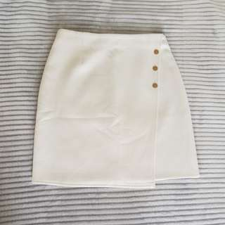 Missguided White Skirt size 8 gold button detailing