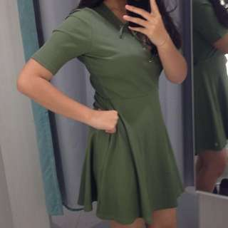Army Green HnM laced neckline dress