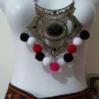 Mongol pom necklace