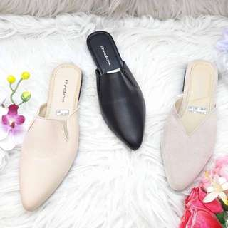Synthetic leather mules