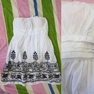 Forever 21 Embroidered White Tube Dress