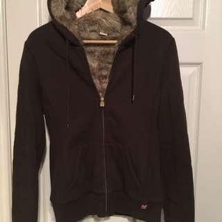 Aritzia Brown Fur Lined Hoodie