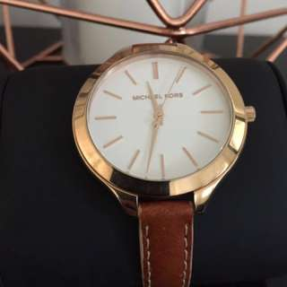 Michael Kors Rose Gold Leather Watch