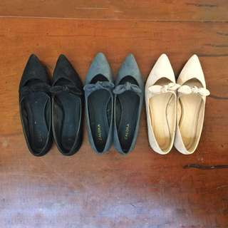 ZALORA Bow Ballerinas (Set of 3)
