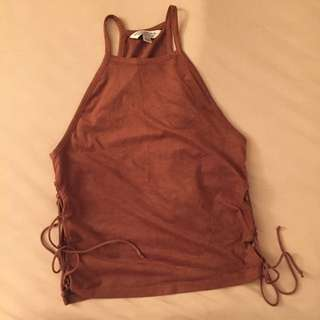 A&E Side Lace Brown Tank