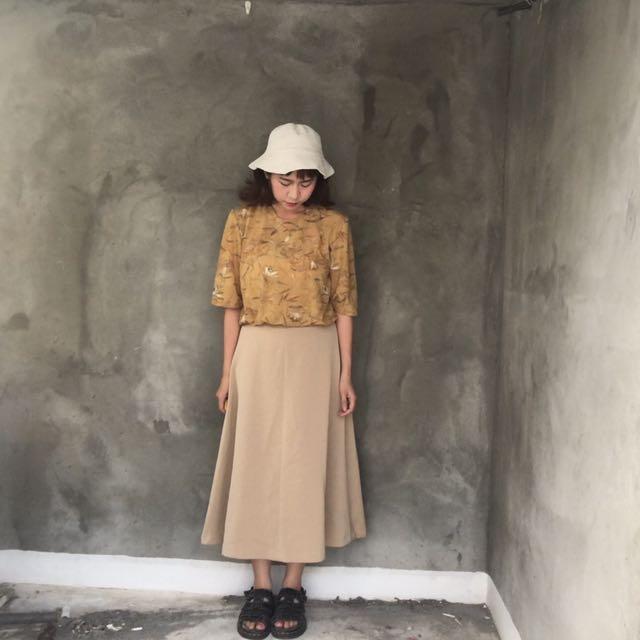 日本製🇯🇵秋意土黃薄長袖❤️任選兩件減100✨古著復古vintage森林系