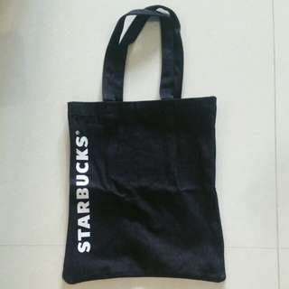 *BRAND NEW* Starbucks Black Denim Tote Bag (with pocket inside)