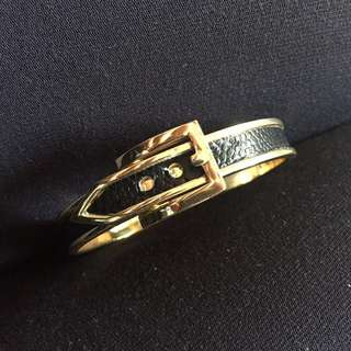 Black belt bracelet with gold trims