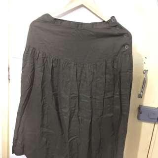 無印良品墨綠色半截裙 Muji Olive Midi Skirt