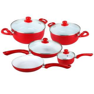 Ceramic Pan 9-Piece Set (Red)