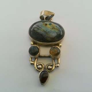 Labradorite & Garnet Large sterling silver pendant