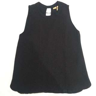 Zara Black Sleeveless Textured Blouse