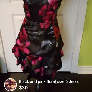Black and pink size 6 ruffled dress