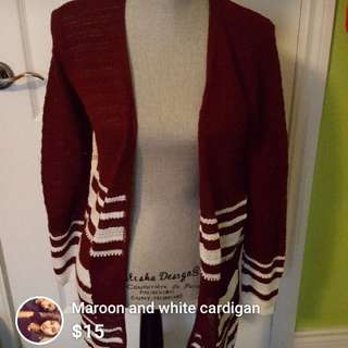 Maroon and white cardigan