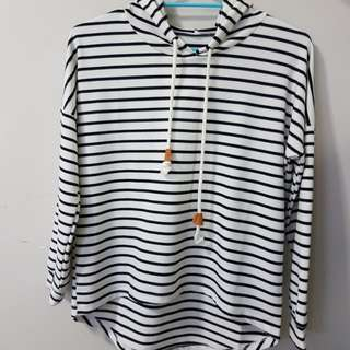 B&W striped hooded sweatshirt