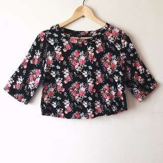 CO Cotton On Black Floral Oversized Crop Top