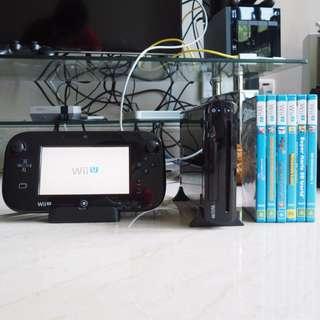 Nintendo Wii U 32gb Black console with 6 games