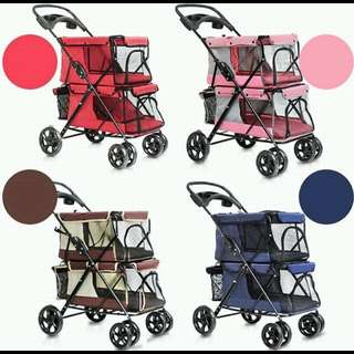 2 tier pet pram pet strollers double layer pet prams for multiple dogs trolley dog prams dog strollers foldable washable pet carriers