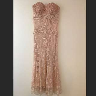 Nude Blush Lace Gown Ballroom Formal Dress