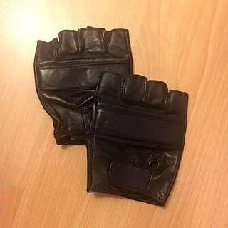 Butter soft genuine black leather fingerless gloves (motorbike or tough gangster look)