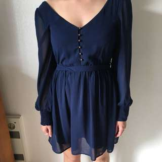 Size 8 blue tie up dress