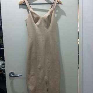 Kookai square weave dress nude colour size 34