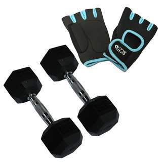 8ca8e19a854 RCL DBHX9050 5kg X2 Rubber-Coated Dumbbell + Glove