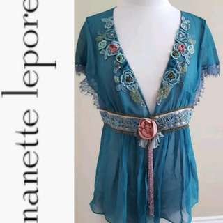 NANETTE LEPORE SLEEVELESS Silk Blouse with Floral, Lace, and Brocade Detailing