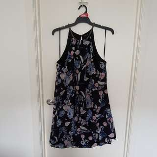 Black and floral silky flow dress size 18