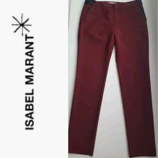 ISABEL MARANT ÉTOILE Dark Red Pants with Weaved Black Linen Trim - EUC, US Medium