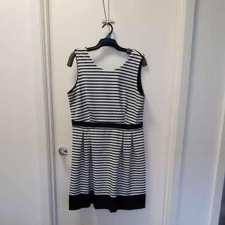 Tokito black and white striped dress size 16