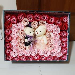 Soap Roses with Bear Gift