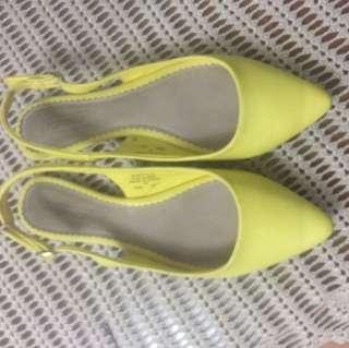 Topshop yellow flat sling back, Size 40