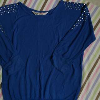 H&M Blue Pullover With Silver Studs For 8-10YO Baby Girl