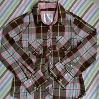 Justice Checkered Polo With Small Studs For 5-6YO Baby Girl