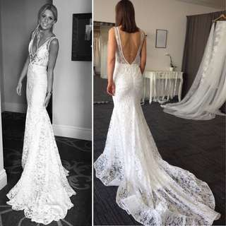 Modern boho French lace wedding dress- size 2,4,6,8,10US