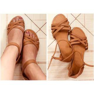 Brown Strappy Flats onhand!!! (36-37)