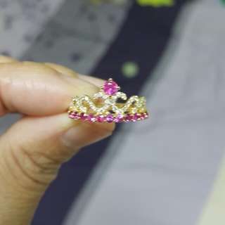 (New Item) Natural Pink Sapphire Crown Ring With Diamonds 18K Gold From Myanmar ( Mogok ) [ Instock ]