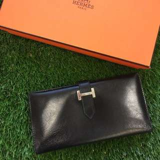 Authentic Hermes Black Long Wallet