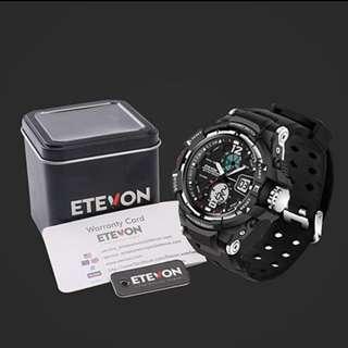 BRAND NEW IN BOX ETEVON Men's 'Galaxy' Double Buckle Stable Type Analog digital Watch